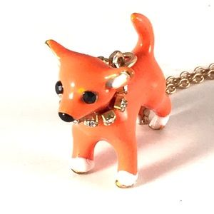 BETSEY JOHNSON Dog Necklace Puppy Fur Baby Charm